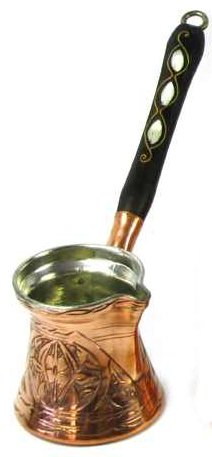 Thickest Premier Engraved Solid Copper Turkish Greek Arabic Coffee Pot Stovetop Coffee Maker Cezve Ibrik Briki with Wooden Handle, Thick 1,5 mm (Medium – 8 Oz)