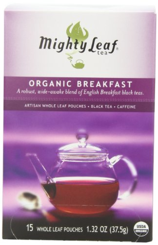 Mighty Leaf Tea, Organic Breakfast, Whole Leaf Pouches, 1.32-Ounces, 15-Count (Pack of 3)