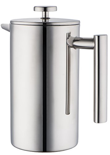 MIRA Stainless Steel French Press, Coffee Tea Brewer, Double Walled, 1Liter, 34 Ounces
