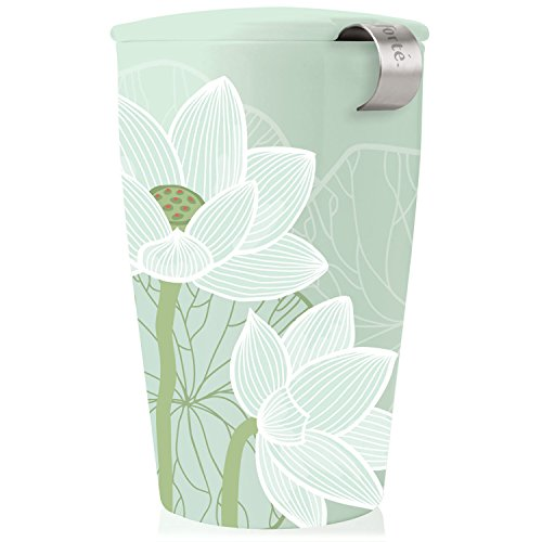 Tea Forte KATI Single Cup Loose Leaf Tea Brewing System, Insulated Ceramic Cup with Tea Infuser and Lid, Lotus