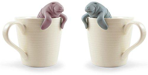 Tea Infuser Gift Set Mr and Mrs Manatea for Loose Leaf Tea, Set of 2, Grey and Pink