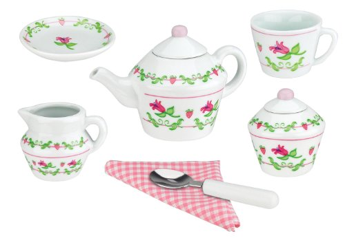 Deluxe Ceramic Tea Set with Basket