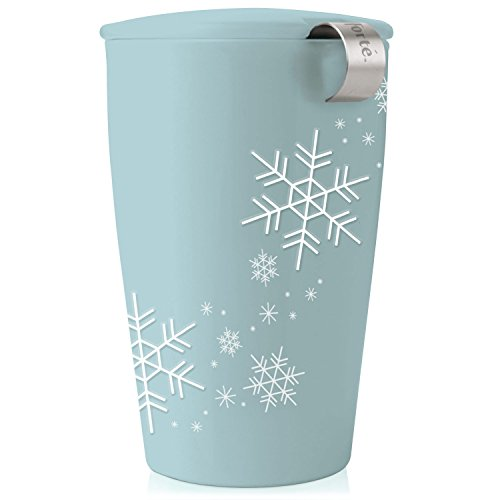 Tea Forte KATI Single Cup Loose Leaf Tea Brewing System, Insulated Ceramic Cup with Tea Infuser and Lid, Snowflake – NEW Infuser Design