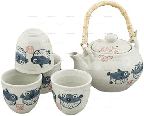 Happy Sales Off White Porcelain Tea Set Blowfish Design
