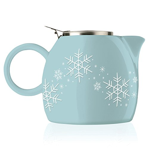 Tea Forte PUGG 24oz Ceramic Teapot with Improved Stainless Tea Infuser, Loose Leaf Tea Steeping For Two, Snowflake