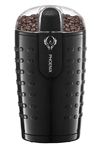 Phoenix Coffee Bean Grinder with Brush, Oval Design with Stainless Steel Blade – B250 – 2.5oz (70 gm) capacity – Black