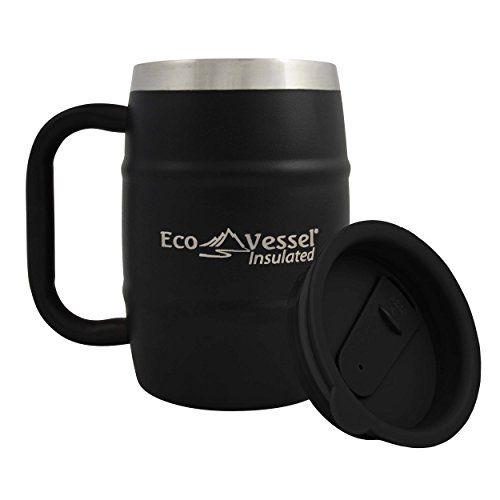 Eco Vessel Double Barrel Insulated Stainless Steel Beer/Coffee Mug with Lid, Shadow Black, 17 oz/500ml