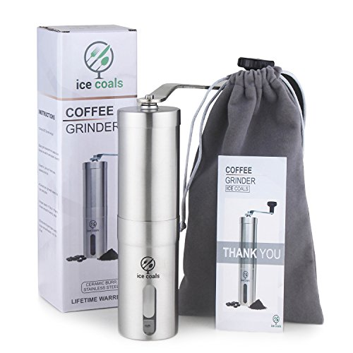Coffee grinder' manual burr grinder mill espresso grinder – portable coffee bean grinder with adjustable ceramic burr – Aeropress , Espresso compatible , TRAVEL POUCH BONUS.
