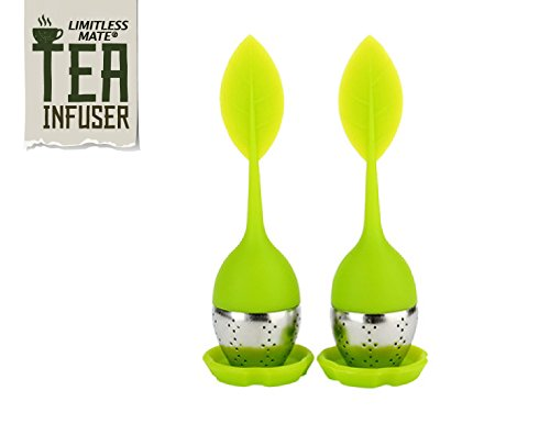 Limitless Mate Loose Tea Infusers With Drip Tray Set of 2 Beautiful Silicone Green Leaf Handles With Stainless Steel Ball For Loose Leaf Tea or Herbal Tea