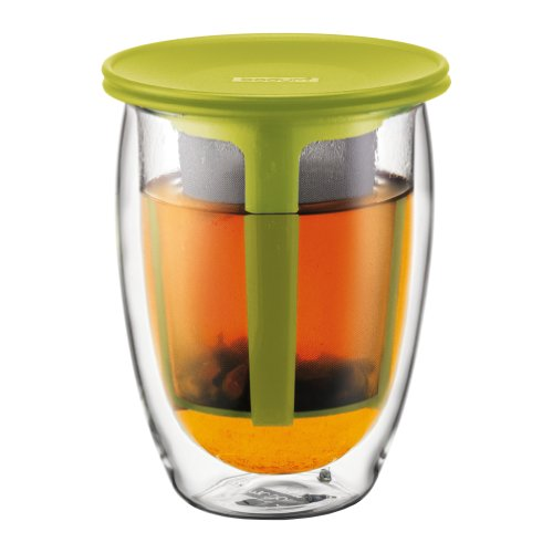 Bodum 12-Ounce Tea for One, Double Wall Glass with Strainer, Green