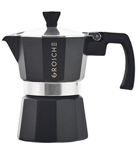 GROSCHE Milano Moka Stovetop Espresso Coffee Maker with Italian Safety Vavle, Black, 3 cup