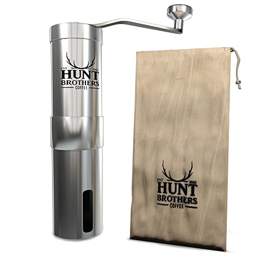 Hunt Brothers Manual Coffee Grinder | Best Coffee Grinder, Aeropress Compatible, Stainless Steel Body and Handle