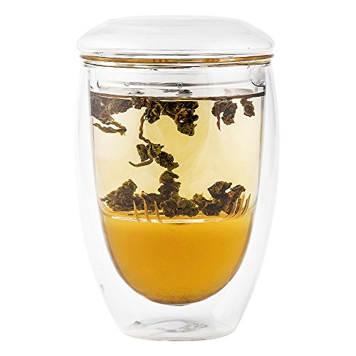 Tea Infuser Cup With Double Wall Glass Design, Strainer and Lid by Immortalitea ~ Perfect Way to Brew Loose Leaf Teas ~ 10 oz