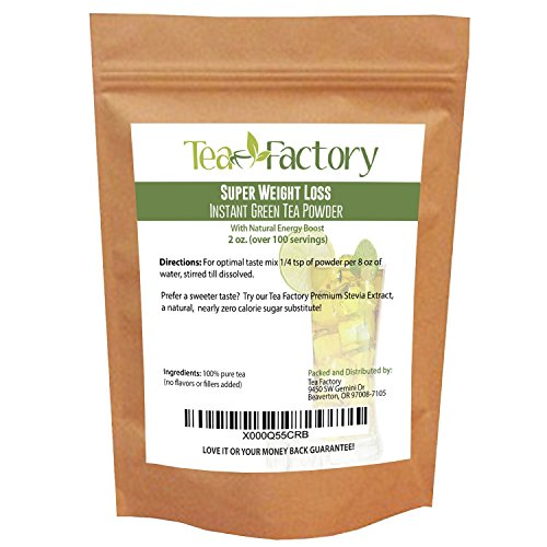 Instant Green Tea Powder – 100% Pure Tea – No Fillers, Additives or Artificial Ingredients of Any Kind (2 oz – appx 100 Servings)