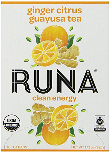 Runa Amazon Guayusa Tea Box, Ginger Citrus, 16 Tea Bags, 1.13 Ounce