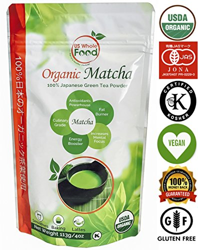 Matcha Green Tea Powder – 137x Antioxidants of Brewed Green Tea, Japanese Organic Culinary Grade – 113 Grams