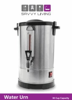 Savvy Living Hot Water Urn 50 Cups Brushed Stainless Steel Metal, Double Insulated, Safety Lid Lock, Boil Protection, Add Water on YomTov On Off Switch for Hot Coffee Tea and Cocoa 18.5″ High