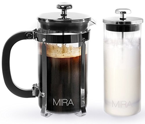 MIRA French Press Coffee Maker – 34 oz 1 liter, strong borosilicate glass, with bonus Milk Frother