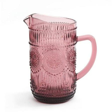 The Pioneer Woman Adeline 1.59-Liter Glass Ice Tea Water Pitcher Bar Drinkware, Plum