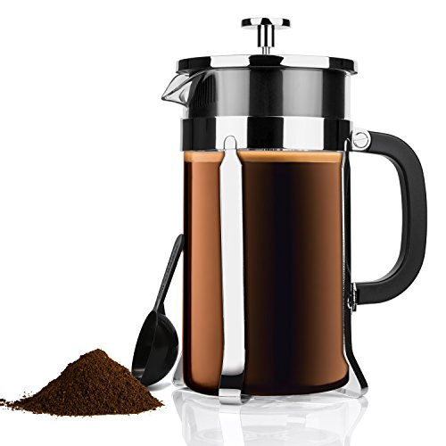 Zestkit French Press Coffee Tea Makers, 1 Liter 34 oz, Heat Resistant Glass and Stainless Steel