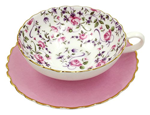 Jsaron Porcelain Flower Series elegant Tea Coffee Cup with Spoon and Saucer Set,Pink