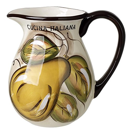 Original Cucina Italiana Ceramic Wine Pitcher 2-1/4 Quart Fruit Decor