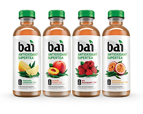 Bai Supertea Variety Pack, 5 Calories, No Artificial Sweeteners, 1g Sugar, Antioxidant Infused Beverage(pack of 12)