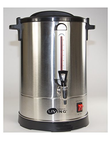Savvy Living Commercial Hot Water Urn 60 Cups Brushed Stainless Steel Metal, Double Insulated, Safety Lid Lock, Boil Protection, Add Water on YomTov On Off Switch for Hot Coffee Tea and Cocoa 17″ High