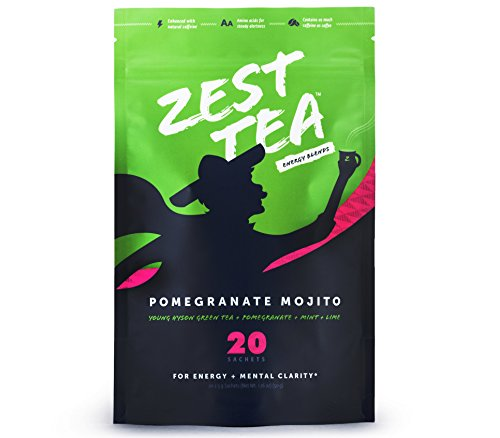 Pomegranate Mojito Green Energy Tea – Healthy Coffee Substitute – 140 mg caffeine per cup (20 Sachets) (50 g)