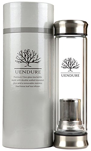 UEndure Tea Infuser Glass Tumbler with Loose Leaf Tea Strainer, Tea Cup with Stainless Steel Steeper, Double Wall Portable Teapot with Mesh Filter Basket, Great Water Bottle for Fruit Infusion and Food Grade Essential Oils