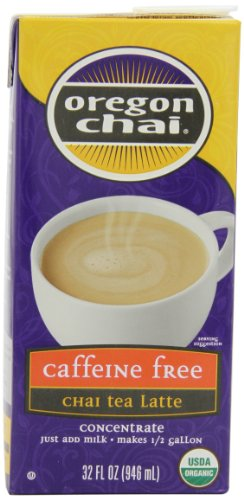 Oregon Chai Caffeine Free Chai Tea Latte Concentrate, 32-Ounce Boxes (Pack of 6)