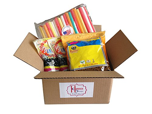 Hanover Shops Collection of BOBA Tapioca Pearls for Bubble Tea, Pantai Thai Tea Powder and Boba Jumbo Straws Bubble Gift Set