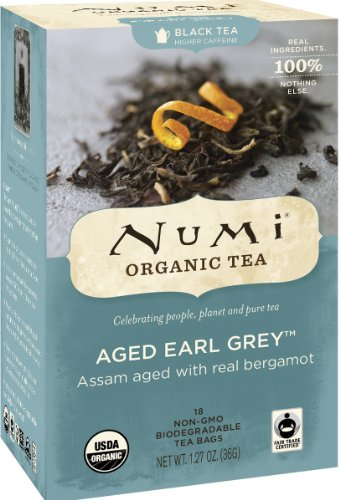 Numi Organic Tea Aged Earl Grey, Full Leaf Black Tea, 18 Count Tea Bags (Pack of 3)