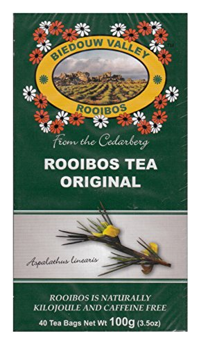 Rooibos Tea: 100% Natural Original South African Red Bush Healthy Herbal Tea – Caffeine Free, Calorie Free, Antioxidant & Mineral Rich (40 Bag Count 3.5oz). Grown At High Altitude in Natural Habitat.