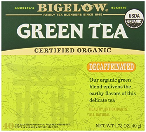 Bigelow Decaffeinated Organic Green Tea, 40 Count Box