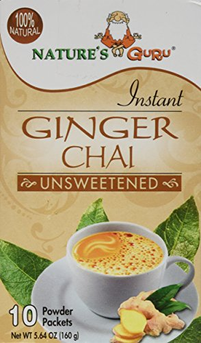 Nature's Guru Instant Ginger Chai Unsweetened, 10-count (Pack of 1)