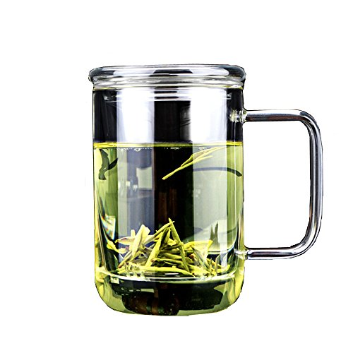 Rihan®Tea Infuser Cup, Strainer and Lid, Glass Made Tea Infuser (400ml)