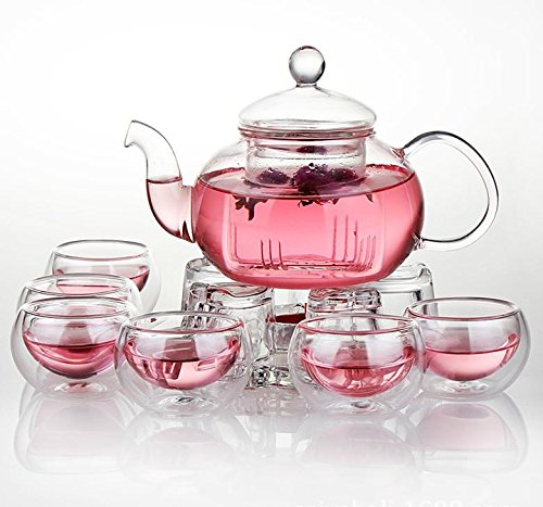 Jusalpha Glass Filtering Tea Maker Teapot with a Warmer and 6 Tea Cups Set (Tea Set Version 2)