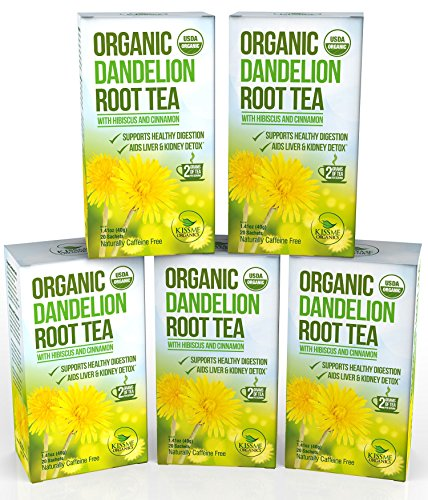 Dandelion Root Tea – Raw Organic Vitamin Rich Digestive – 5 pack (100 Bags 2 grams each)
