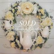 Ivory Silk Tea Cup Wreath