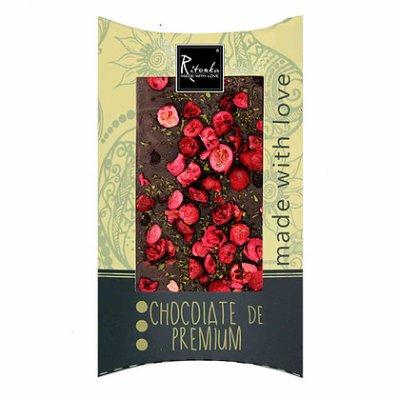 chocoladereep in verpakking puur met cranberry en munt