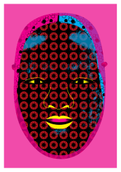 Noh Mask in Pink