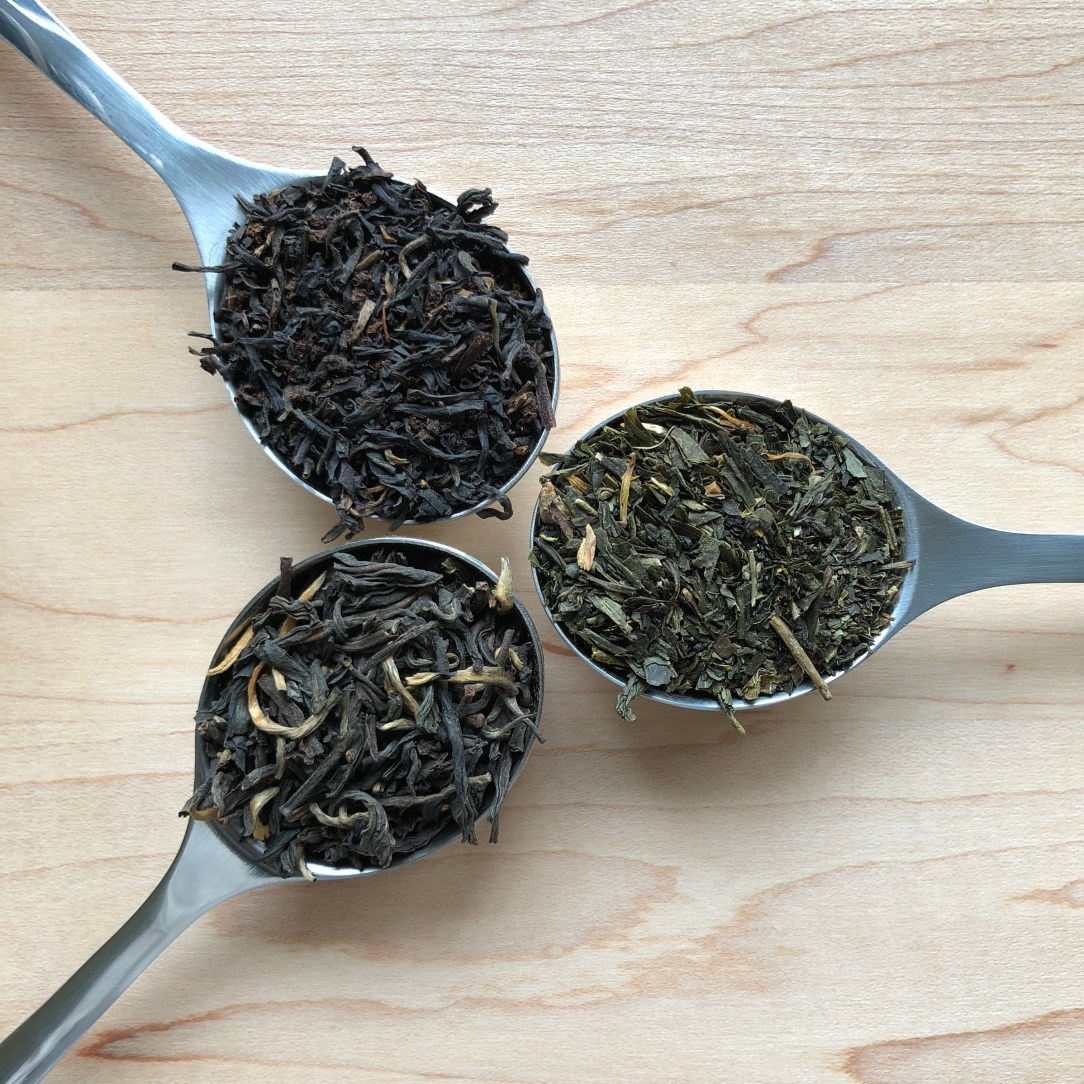 Shibui Tea Tropical Green, English Breakfast, and Imperial Yunnan Organic Spoons