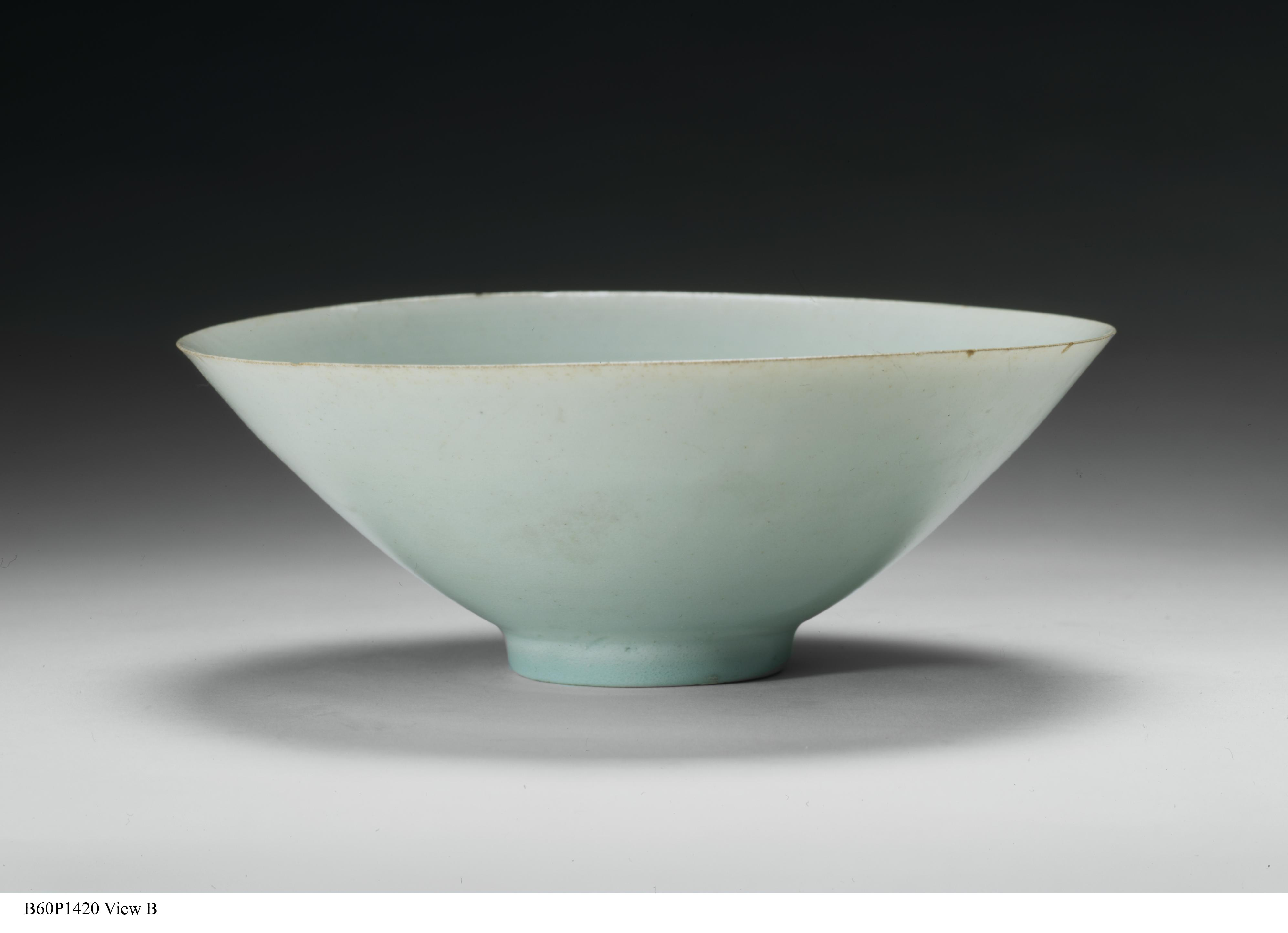 Tea bowl, Qingbai ware. China, Northern Song dynasty, 1050-1100. Porcelain, blue-green glaze. On loan, Asian Art Museum, the Avery Brundage Collection. Photo courtesy of Fowler Museum at UCLA