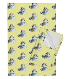 Hedgehog Tea in Yellow by golders for Spoonflower.