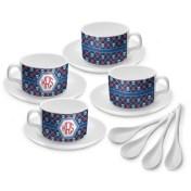 Knitted Argyle Skulls Tea Cup Set