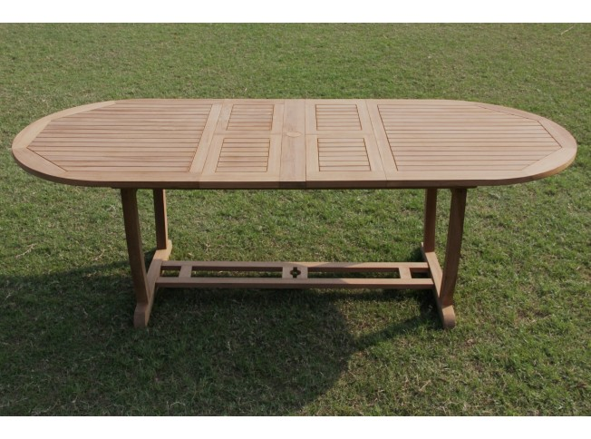 "117"" Double Extension Oval Dining Table With Trestle Legs"