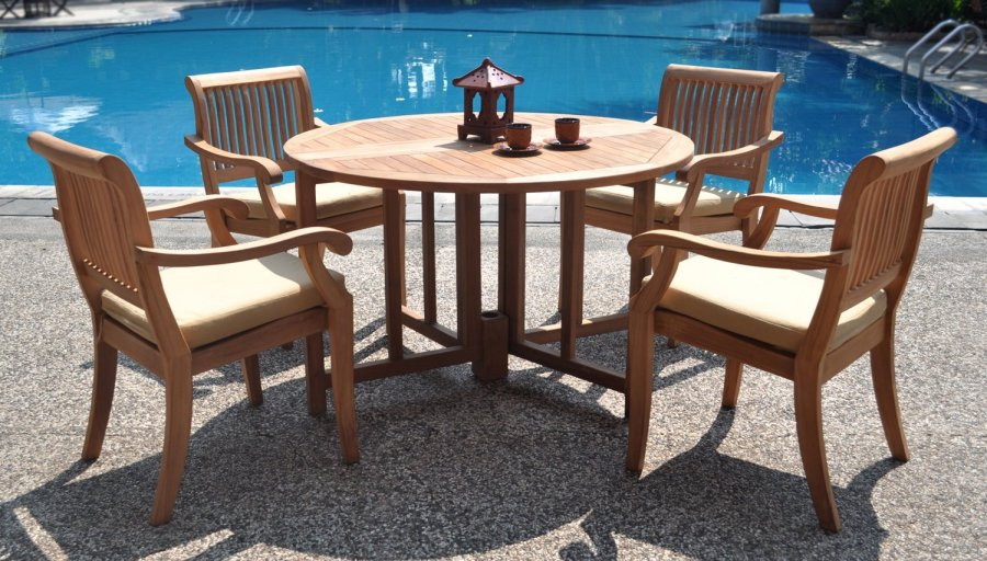 5 Piece Luxurious Grade A Teak Dining Set   48  Round Butterfly     5 Piece Luxurious Grade A Teak Dining Set   48  Round Butterfly Table  Review   Teak Patio Furniture World