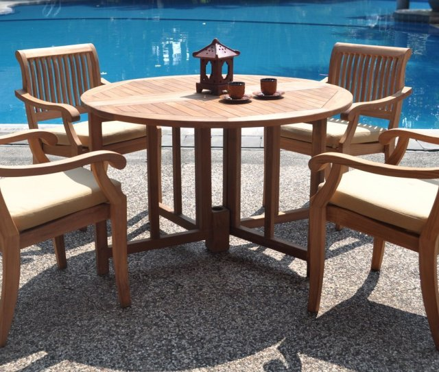 Piece Grade A Teak Dining Set  Inch Round Table