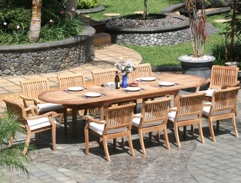 11 Piece Grade A Teak Dining Set   Large Oval Table and Stacking Arm     11 Piece Grade A Teak Dining Set   Large Oval Table and Stacking Arm Chairs   Review   Teak Patio Furniture World